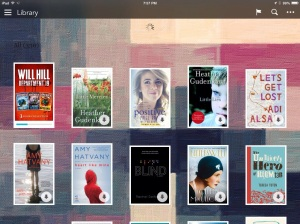 My current reading library. Note all the circles with arrows - they are books that need to be downloaded.